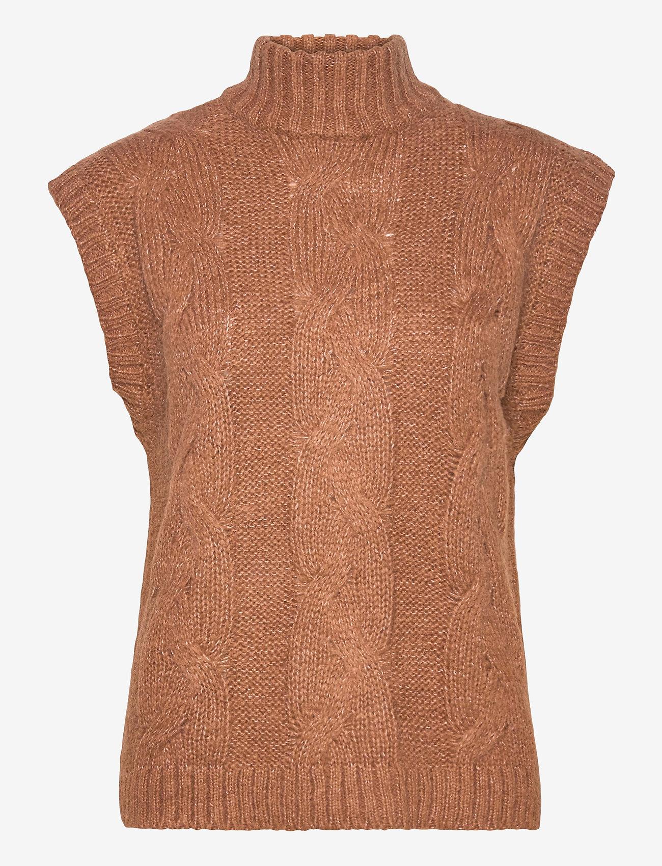 Vila - VISALUTA CABLE ROLLNECK S/L VEST - knitted vests - tortoise shell - 0
