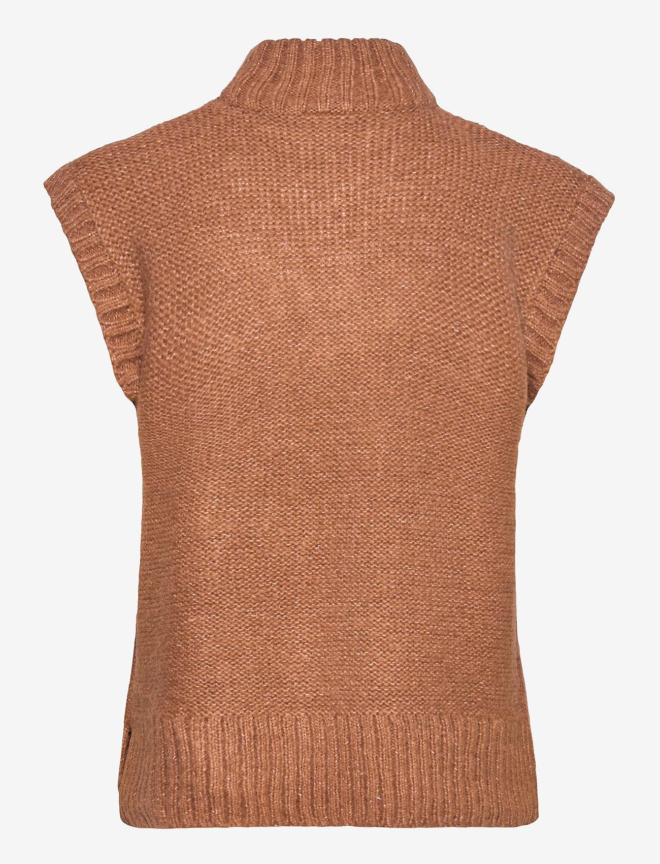 Vila - VISALUTA CABLE ROLLNECK S/L VEST - knitted vests - tortoise shell - 1