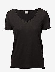 Vila - VINOEL S/S V-NECK T-SHIRT-NOOS - t-shirts - black - 0
