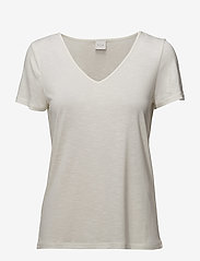 Vila - VINOEL S/S V-NECK T-SHIRT-NOOS - t-shirts - cloud dancer - 0