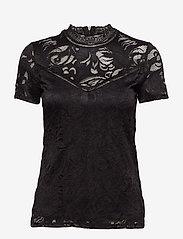 Vila - VISTASIA LACE S/S TOP - NOOS - t-shirts - black - 0