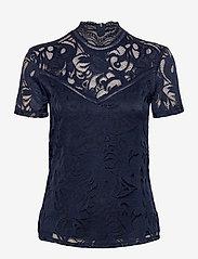 Vila - VISTASIA LACE S/S TOP - NOOS - t-shirts - navy blazer - 0