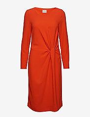 Vila - VISEALO L/S KNOT DRESS - midi dresses - cherry tomato - 0