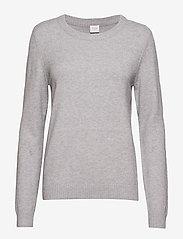 Vila - VIRIL O-NECK L/S  KNIT TOP - NOOS - jumpers - light grey melange - 0