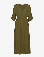 Vila - VIMETAN S/S MIDI DRESS/SU - wrap dresses - dark olive - 0