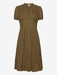 Vila - VICARLINE S/S MIDI DRESS - midi dresses - dark olive - 0