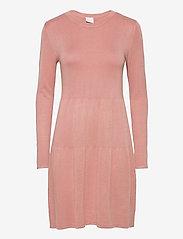 Vila - VIBOLONSIA KNIT L/S DRESS TB - midi dresses - misty rose - 0