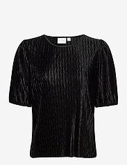 Vila - VIPLEASA 2/4 SLEEVE TOP - t-shirts - black - 0