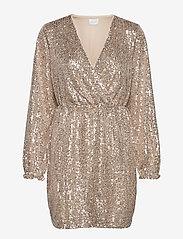 Vila - VILYC L/S SHORT DRESS - paljettkjoler - frosted almond - 0