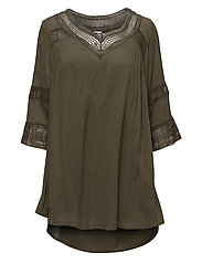 VICARRIE 3/4 SLEEVE TUNIC - IVY GREEN