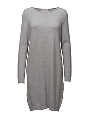 VIRIL L/S KNIT DRESS-NOOS - LIGHT GREY MELANGE