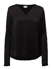 VICAVA L/S V-NECK TOP-NOOS - BLACK