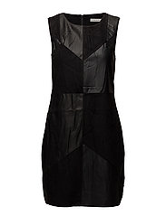 VISONIA PU DRESS P - BLACK