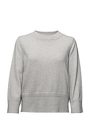 VIBEKKA 7/8 SLEEVE KNIT TOP - SUPER LIGHT GREY MELANGE