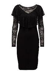 VIBEKKY L/S RUFFLE DRESS - BLACK