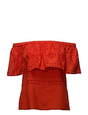 VISIMMI OFFSHOULDER BRODERIE TOP - ORANGE.COM