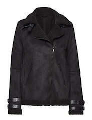 VIBLACK FAUX SHERLING JACKET/PB - BLACK