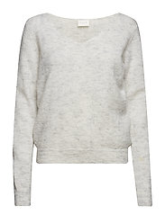 VISIFER KNIT V-NECK L/S TOP-NOOS - LIGHT GREY MELANGE