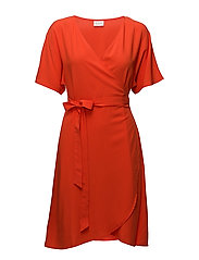 VILIBA S/S WRAP DRESS - ORANGE.COM