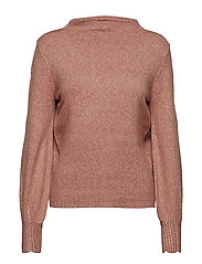 VIRIPLEY KNIT FUNNEL NECK L/S TOP - ASH ROSE