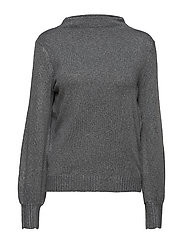 VIRIPLEY KNIT FUNNEL NECK L/S TOP - MEDIUM GREY MELANGE