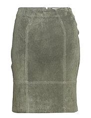 VIFAITH HW SUEDE SKIRT - CASTOR GRAY