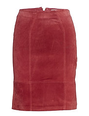 VIFAITH HW SUEDE SKIRT - EARTH RED