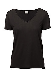 VINOEL S/S V-NECK T-SHIRT-NOOS - BLACK