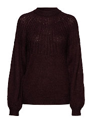 VILINNE KNIT BLOCK L/S TOP - WINETASTING