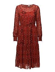 VINILAH L/S MEDI DRESS - ORANGE.COM