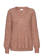 VIDRIANE KNIT V-NECK L/S TOP - REDWOOD