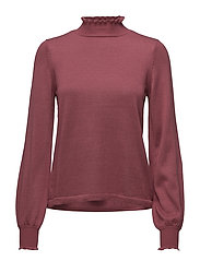 VISMOCKA KNIT FUNNEL NECK L/S TOP - EARTH RED
