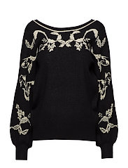 VIBROCADE KNIT JACQUARD L/S TOP - BLACK