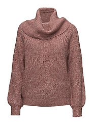 VIVIEW KNIT NEW COWLNECK L/S TOP - ASH ROSE