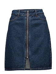 VIJULES RW ZIPPER SKIRT - MEDIUM BLUE DENIM