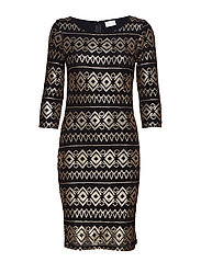 VIBEADA 3/4 SLEEVE DRESS - BLACK