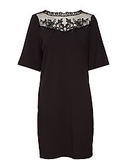 VIBLONDIA 3/4 SLEEVE DRESS - BLACK