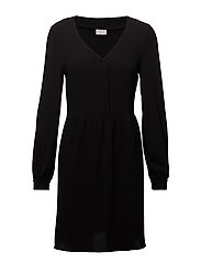 VICALLIE L/S PLACKET DRESS - BLACK