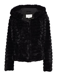 VIMAYA FAUX FUR JACKET/1 - BLACK