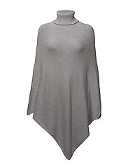 VIRIL ROLLNECK KNIT PONCHO - NOOS - LIGHT GREY MELANGE