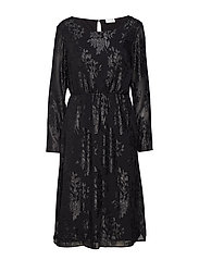 VIOLIANE L/S MIDI DRESS - BLACK