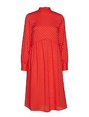 VICINEA L/S MIDI DRESS - RACING RED