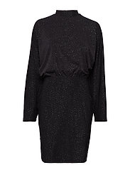 VILULEXA HIGHNECK L/S SHORT DRESS - BLACK