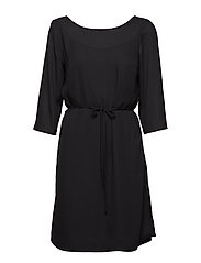 VILUCY 3/4 V-NECK BACK DRESS-FAV NX KA - BLACK