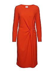 VISEALO L/S KNOT DRESS - CHERRY TOMATO