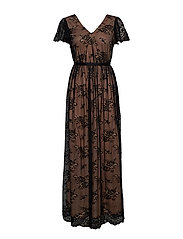 VIMIMA S/S MAXI DRESS/DC - BLACK