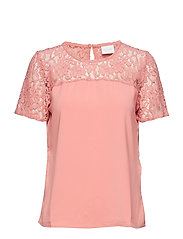 VILAIA S/S LACE TOP - EV - BRANDIED APRICOT