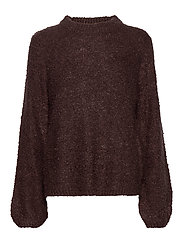 VIBOSSA KNIT L/S FUNNEL NECK TOP TB KI - PUCE