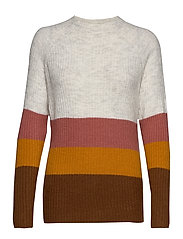 VIKATAY KNIT FUNNEL MULTISTRIPE TOP TB - GOLDEN OAK