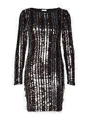 VIBEADO L/S STRIPE DRESS/DES - BLACK